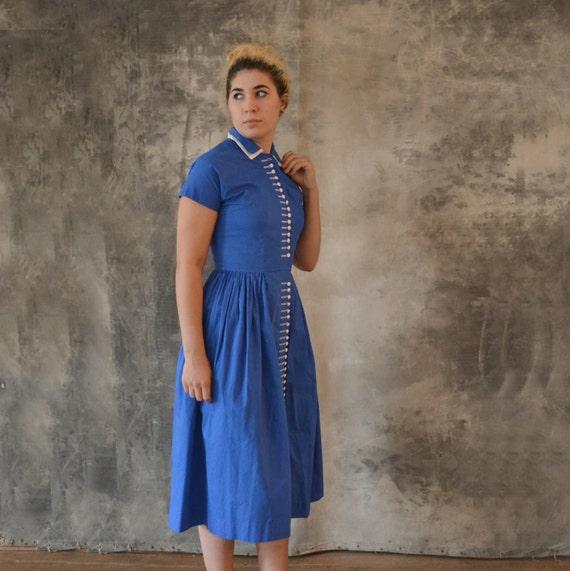 1950s Blue Button Dress size M