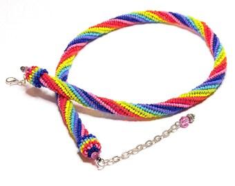 Rainbow Spiral Beadwork Necklace