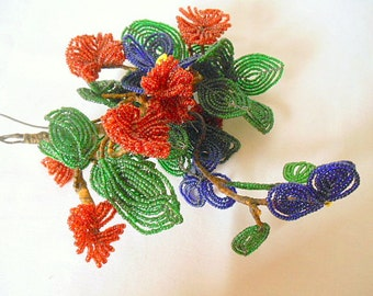 ON SALE.........Vintage French beaded large flower Bouquet
