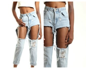 All SIZES  Custom Made Destroyed Boyfriend Jeans Plus sizes