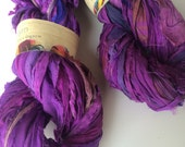 Sari silk ribbon, Egyptian plum, 5 yards, recycled yarn, knitting yarn, crochet yarn, ribbon yarn