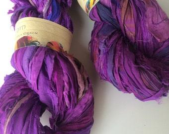 Sari silk ribbon, Egyptian plum, 10 yards, recycled yarn, knitting yarn, crochet yarn, ribbon yarn