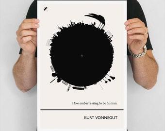 Kurt Vonnegut Literary Print, Large Wall Art, Literary Gift for Men, Black and White Art Print, Minimalist, College Student Gift Dorm Decor