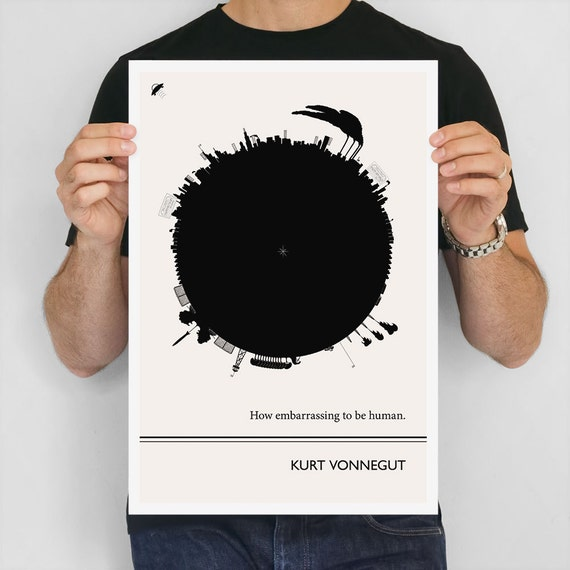 Kurt Vonnegut Literary Print, Large Wall Art, Literary Gift for Men, Black and White Art Print, Minimalist, College Student Gift Dorm Decor
