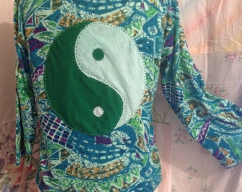 MEDIUM/LARGE, Eco-Friendly Upcycled Cut-Out Yin Yang Hippie Cotton Stretch Yoga OOAK Artfully Altered Top