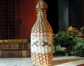 Vintage / Antique Portuguese Muscat Wine Bottle Wrapped in Woven Straw / Mini Demijohn