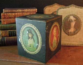 Antique English Tin Box /  Marie Antoinette / Tea Tin / Black Tin Storage / 1910's / Cube Shaped Tea Box