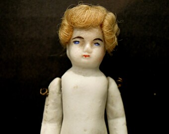 Antique Victorian Doll / German Doll Bisque Doll / Frozen Charlotte Doll / Hand Painted Face / Mohair