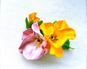 Brooch Pansy flowers - Handmade- Foam brooch- Foamiran brooch/ ready to ship