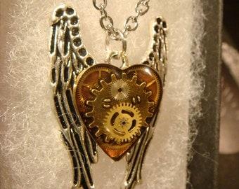 Clockwork Heart on Angel Wings Steampunk Inspired Necklace (2135)