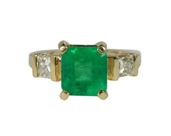 Engagement Beauty! 2.59cts Colombian Emerald & Diamond Engagement Ring 14k