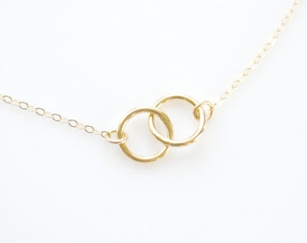 Gold Circle Necklace, Connected Circle Necklace, 14k Gold Filled Interlocking Rings Necklace, Bridesmaid Necklace Gift Idea, Infinity Circle