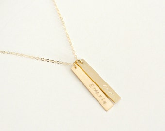 Personalized Vertical Bar Pendant, Bar Necklace, Sterling Silver, Gold Fill, Rose Gold Fill, Custom Pendant Tags, Hand Stamped Nameplate