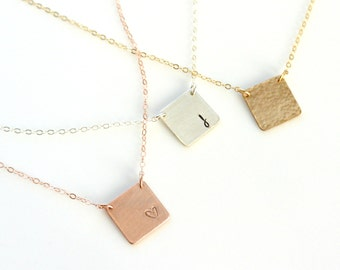 Square Initial Necklace, Monogram Necklace, Gold Silver Rose Gold Square Plate Necklace, Personalized Couples Jewelry, Teen BFF Necklace