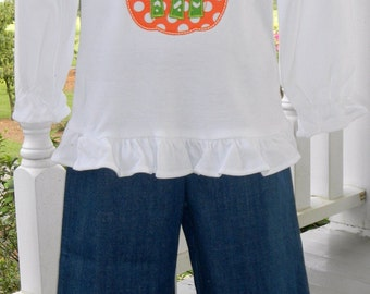 Custom Personalized Girls Fall Pumpkin Appliqued Outfit with Monogram Initial. Denim Ruffle Pants and Ruffle Shirt