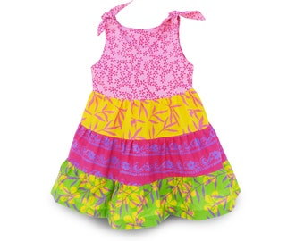 Girls Colorful Dress Pink, Colorful Batik Girls Dress, Colorful Batik Dress, Toddler Ruffle Dress Pink