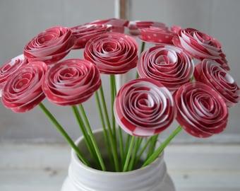 Strawberry Spiral Paper Flower Bouquet, Centerpiece, Gift Bouquet, Home Decor