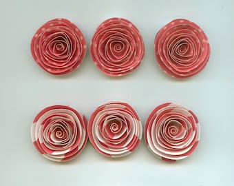 Strawberry Pink Spiral Paper Flowers for Weddings, Bouquets, Events and Crafts