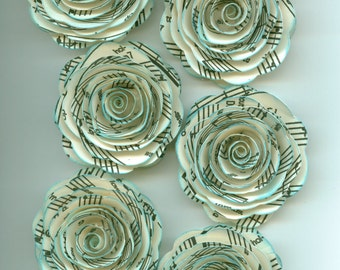 Handmade Music Print Paper Roses with Teal Inked Edges