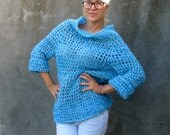 soft as a soul Women sweater/ tunic  Hand knit mohair  Sweater ...S/M......