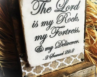 The Lord is my Rock,Scripture Sign,Bible Verse Sign,Rustics Sign, Stone and Wood with Platform,Inspration,Encouragement,Burlap