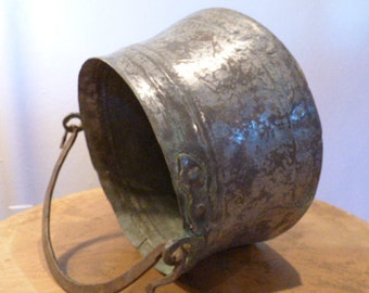 Large Rustic Antique Cooking Kettle -probably 1800's . Hand Pounded