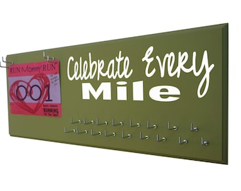 Marathon medals display rack, Celebrate every mile, half marathon medal hanger, 5K medal display, 10K medal rack, Gifts for runners