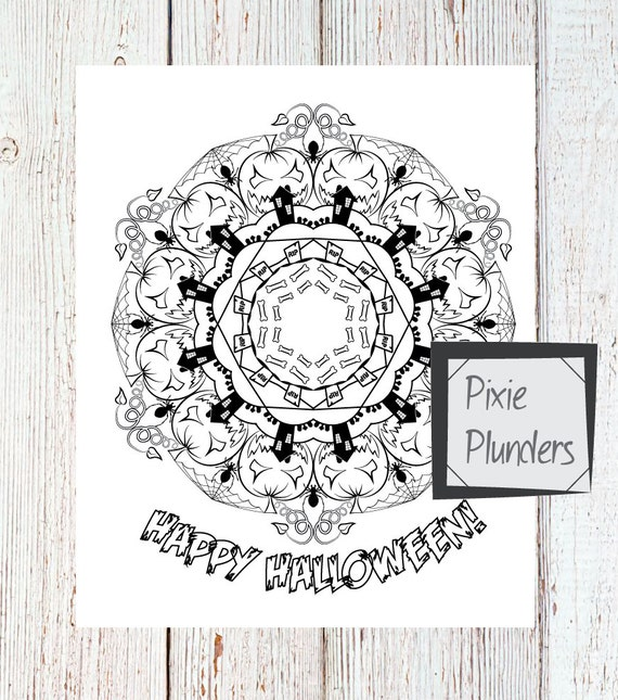 Mandala Colouring Card - Happy Halloween - INSTANT DOWNLOAD