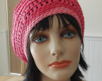 Crochet Slouchy Hat Shades of Pink Hat