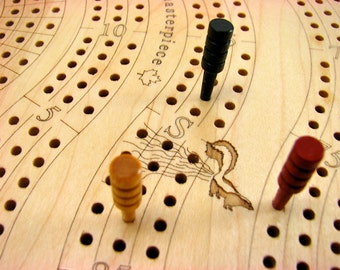 "Best Cribbage Board, 3 player Premium  Cribbage Board, 16.5""L  x  6""W  x  2""H, Two Tier, Maple Top/Cherry Bottom, Laser Engraved, Paul Szewc"