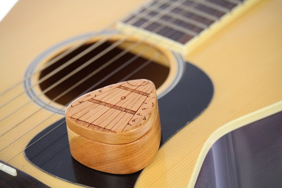 "String Notes Guitar Pick Box, 2-1/4"" x 2"" x 1""d, Pattern G36 deep, Solid Cherrywood, Laser Engraved, Paul Szewc"