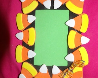 Handmade foam candy corn magnetic picture frame - x41a-g