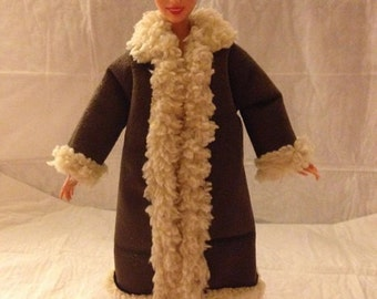 Faux Sherpa & Suede coat for Fashion Dolls - ed814