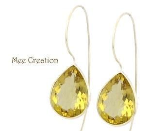 EE2150003) Lemon Quartz Earrings, Yellow Earrings, Lemon Quartz Drop Earrings, Bohemian Earrings, Dangle Earrings, Wedding Earrings,