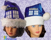 fan of Doctor who Santa Hat TArDIS style confetti dot sparkle or original style