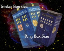 Dr Who Tardis box OR new design ring box- hand painted wood- Personalize for free