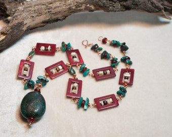 Long Chunky Turquoise Necklace Bohemian Elegance Boho Chic Jewelry in Red and Blue with Shell and Stone - Summer Wanderer