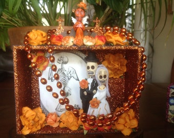 Day of the Dead Wedding Nicho/Shrine/Altar Piece/Cake Topper.