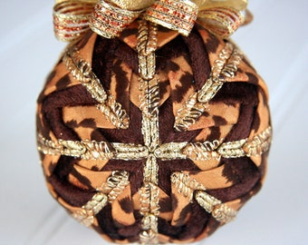 Animal Print Quilted Ornament/Brown and Gold - Safari Glitz