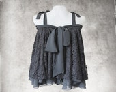 Black lace top/Trapeze big shirt/Bow tie front/Spaghetti string adjustable shoulder