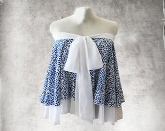 Blue animal print top/Sleeveless tube/trapeze big shirt/Bow tie front