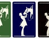 A GIRL & Her HORSE (3) Vintage Single Swap Playing Cards Paper Ephemera Scrapbooking