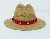 Vintage Disney Character Fashions Mickey Mouse Adult Atlas Fedora Straw Hat-USA