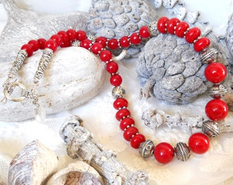 coral red bohemian necklace boho necklace red jade necklace indian glass beaded necklace tibetan silver ethnic