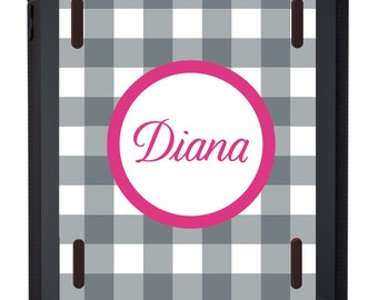 Monogrammed OTTERBOX iPad Defender Case for iPad2 * iPad3 * iPad4 * iPad Air * iPad Air2 in Check - customizable colors and fonts