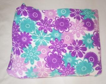 Purple & Teal Flowers Fleece Blanket - Extra Large