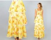 SUMMER SALE SALE • 70's Floral Maxi Dress