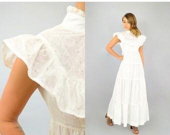 SUMMER SALE 70's White Eyelet RUFFLE Dress