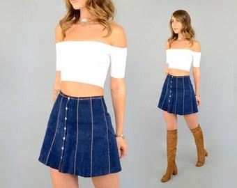 70's LEATHER Mini Skirt (Navy)