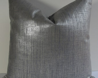 """Robert Allen Metallic Glazed linen in Steel Gray Decorative throw pillow cover, BOTH SIDES designer accent pillow in 16"""" or 18"""" size"""